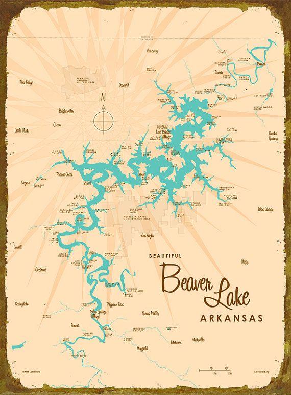 beaver lake arkansas map Beaver Lake Arkansas Map Metal Sign By Lakeboundshop On Etsy beaver lake arkansas map
