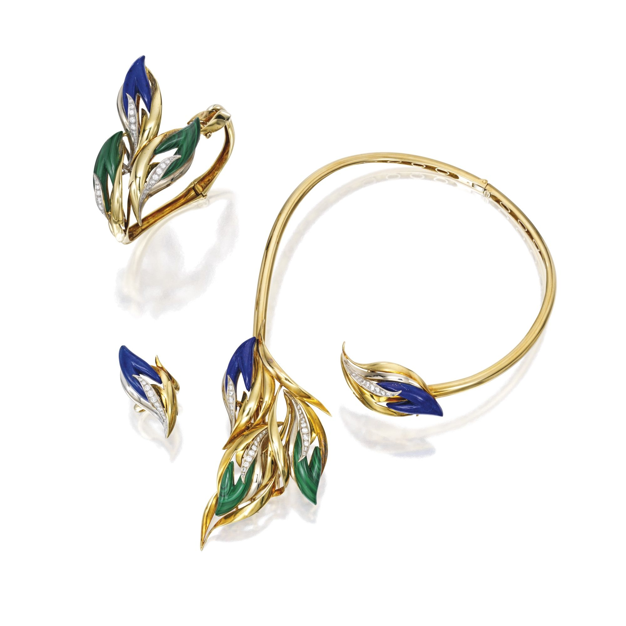 e0e2ddc28 Suite of Two-Color Gold, Malachite, Lapis Lazuli and Diamond Jewelry,  Chaumet, Paris Comprising a necklace, bracelet and ring of stylized foliate  design, ...