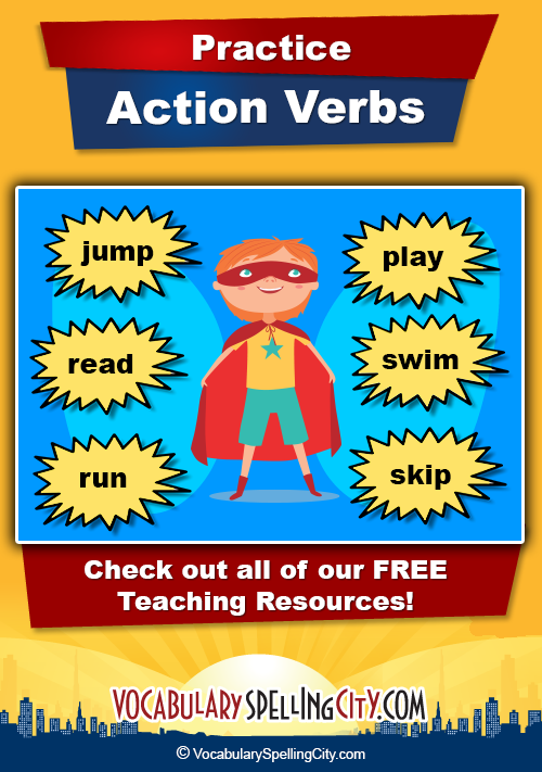Action Verbs Unique Action Verbs  Action Verbs Verb Words And Activities
