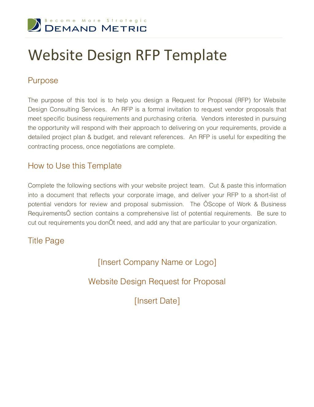 Website Design Rfp Template Website Design Rfp Proposal Templates