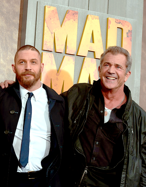 Tom Hardy and Mel Gibson attend the Mad Max: Fury Road LA Premiere, May 7th 2015