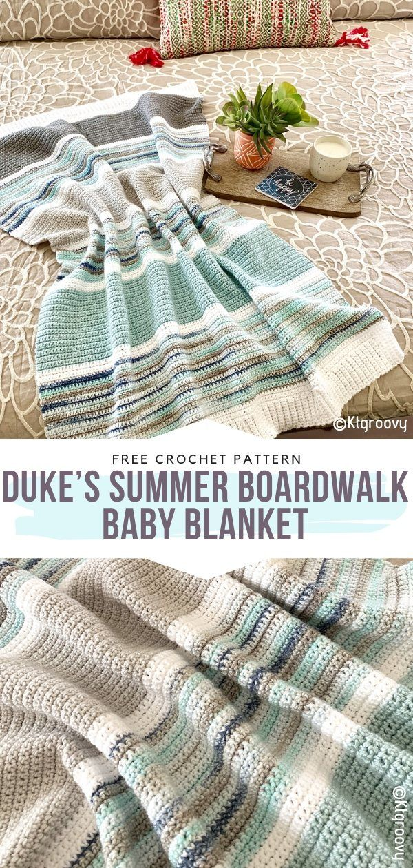 Duke's Summer Boardwalk Baby Blanket Free Crochet Pattern Modern, stylish, beginner-friendly! What else can we dream of while we're looking for a crochet blanket pattern? Horizontal stripes are timeless and the neutral colors with a refreshing touch of mint make this piece even more versatile. #crochetblanket #rainbowcrochet #crochetbabyblanket #crochetrainbowblanket #freecrochetpattern