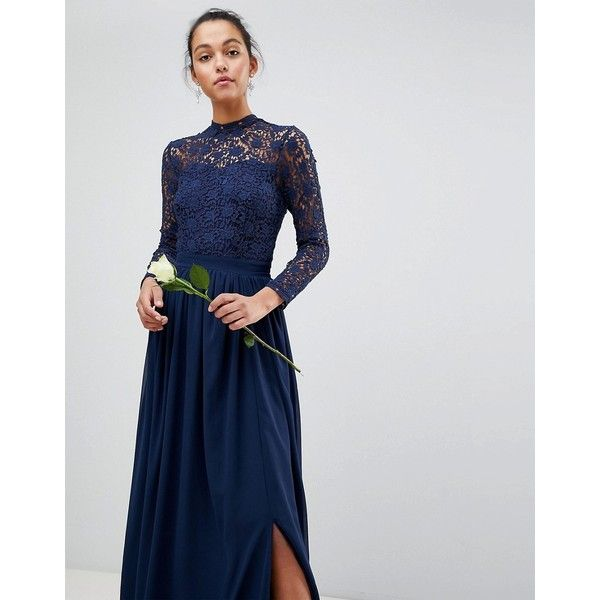 1f745fb74d0f1 Club L High Neck Crochet Lace Maxi Dress With Long Sleeves ($49) ❤ liked on  Polyvore featuring dresses, gowns, navy, cocktail party dress, ...