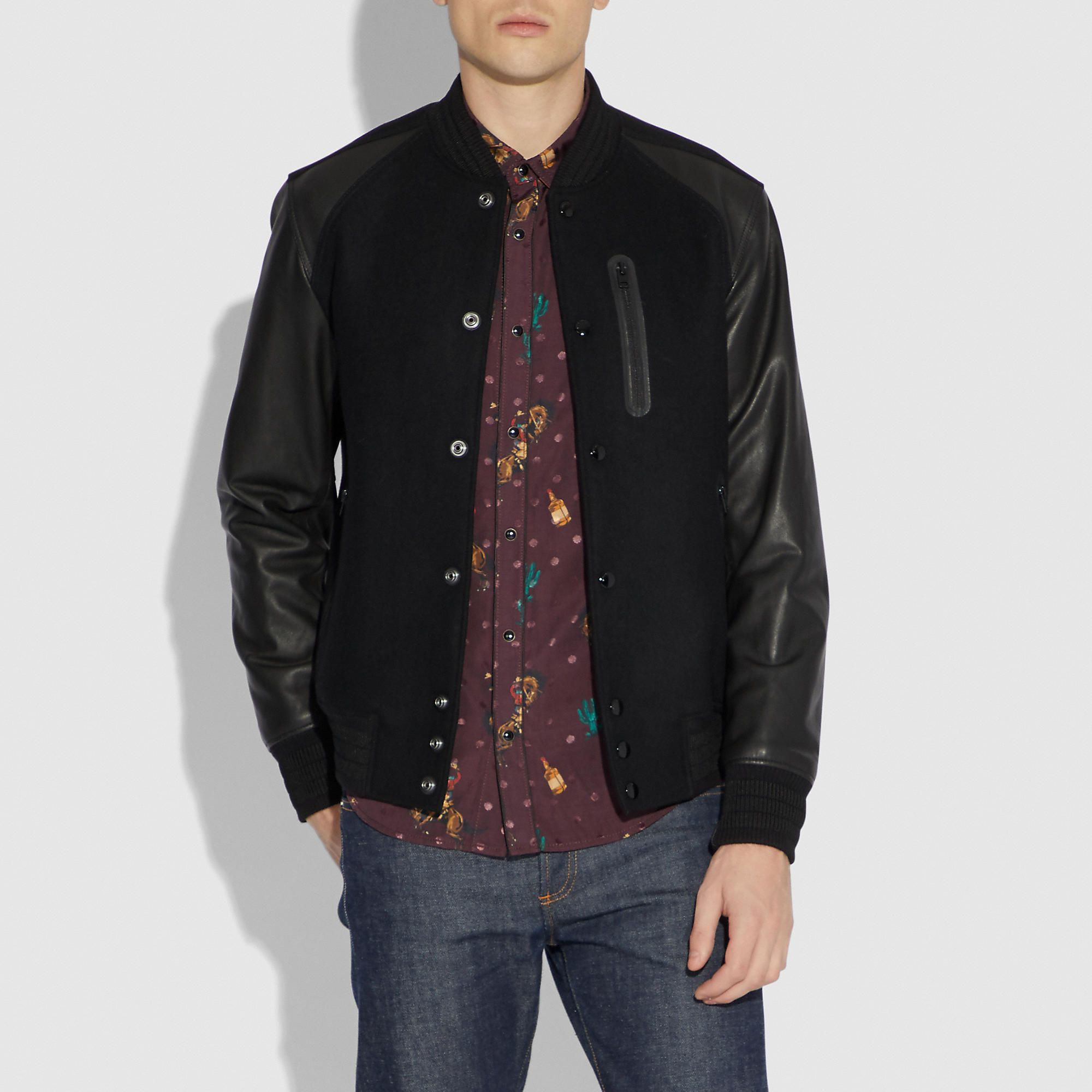 COACH Men's Rexy Varsity Jacket Jackets, Bomber jacket
