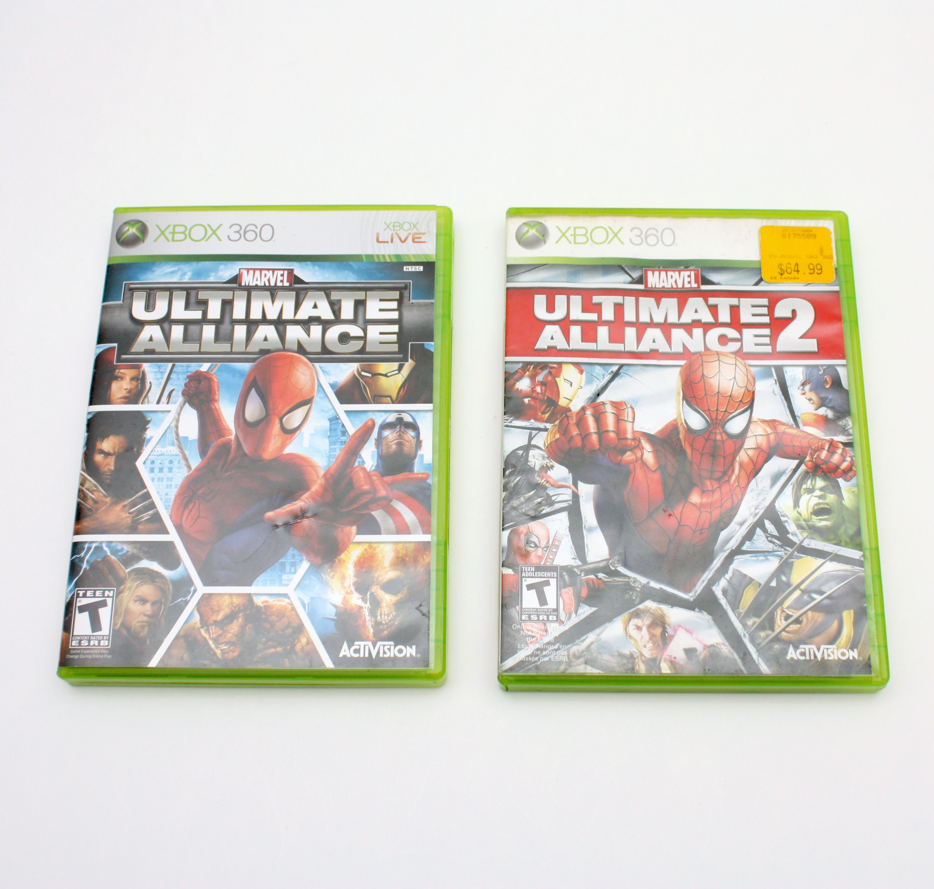 Lot of marvel ultimate alliance 1 and 2 xbox 360 games