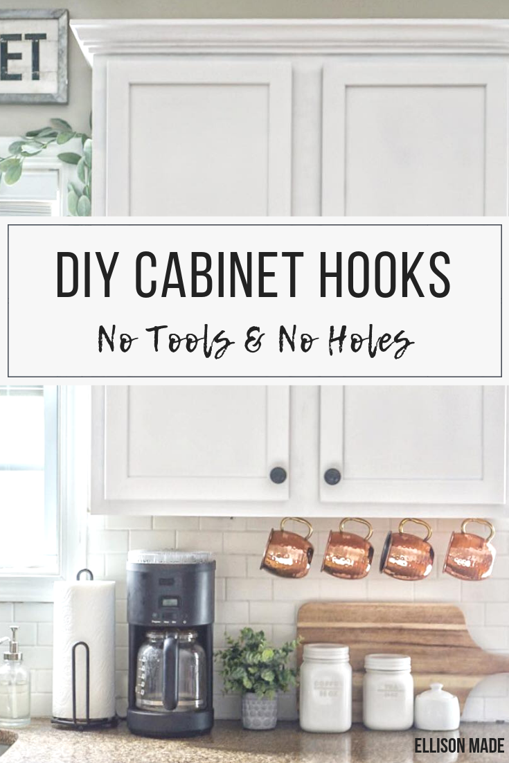 How To Hang Mugs Under Your Cabinets Without Any Holes Or Tools Diy Home Decor For Apartments Renting Rental Kitchen Makeover Under Cabinet