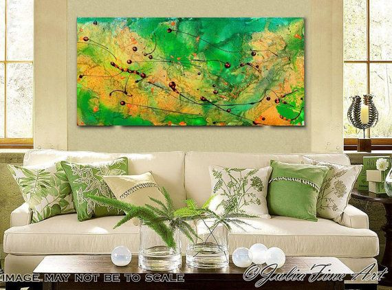 66inch, Large Print, Green Abstract Painting, Green Art, Modern Wall ...