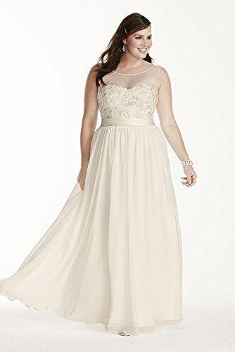 Chiffon Illusion Tank Plus Size Wedding Dress with Lace S ...