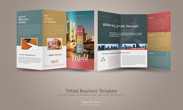 Free Modern TriFold Brochure Template  Church