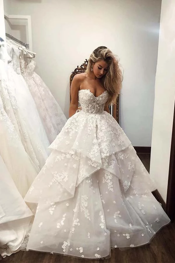 Ball Gown Sweetheart Strapless V Neck Ivory Wedding Dress With Flowers Promdress M In 2020 Wedding Dress Trends Maternity Bridesmaid Dresses Ivory Bridesmaid Dresses