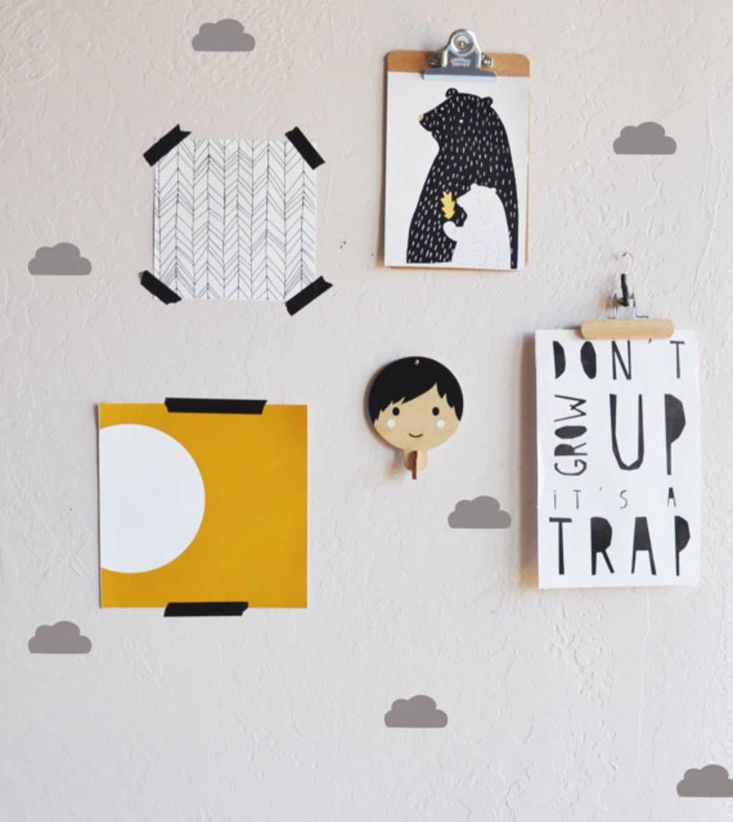 adesivos nuvens decorativos para parede 5x2,5cm 100 unidades - decoração fmldecor