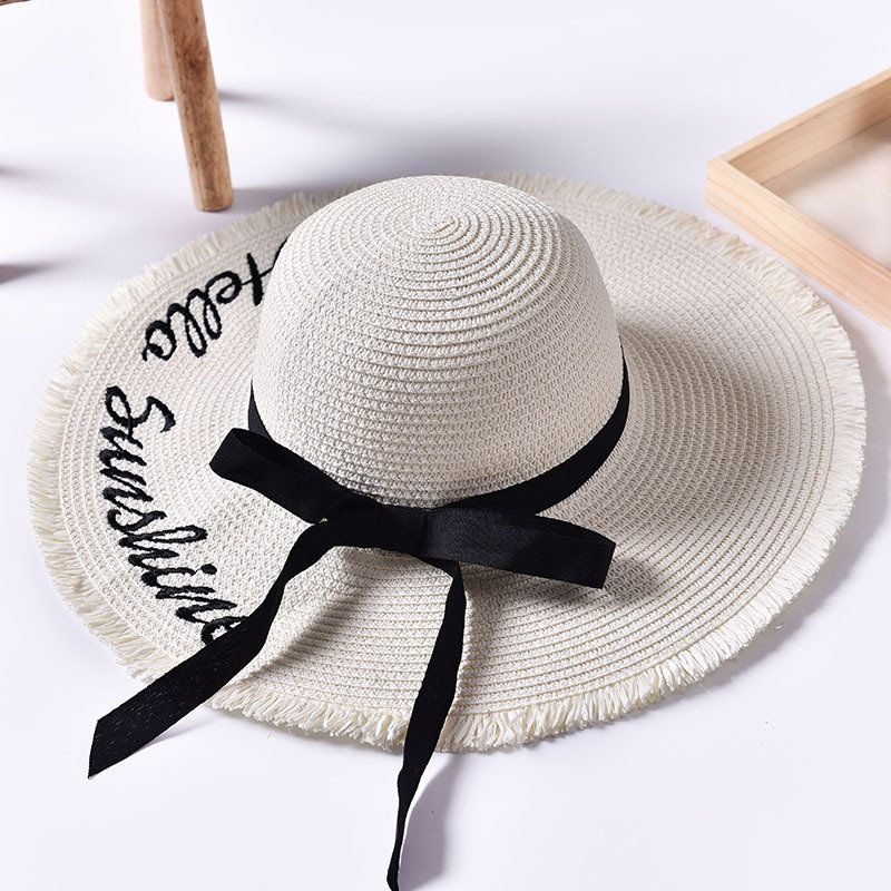 05065ccaad5eec Women Summer Foldable Wide Brim Panama Straw Hat Embroidery Letter Travel  Sunshade Beach Sun Hats