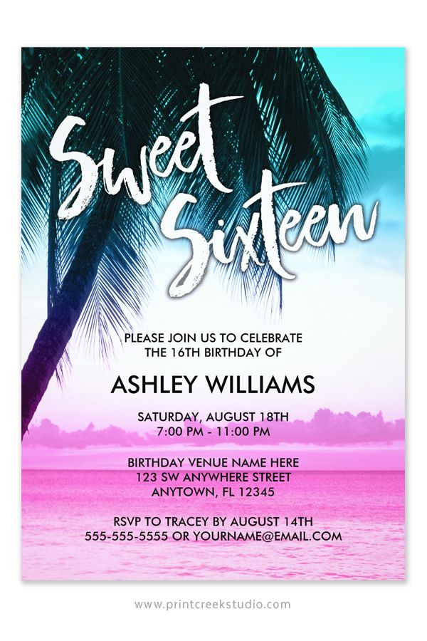 Modern Teal Pink Tropical Luau Sweet 16 Invitation | Palm trees ...