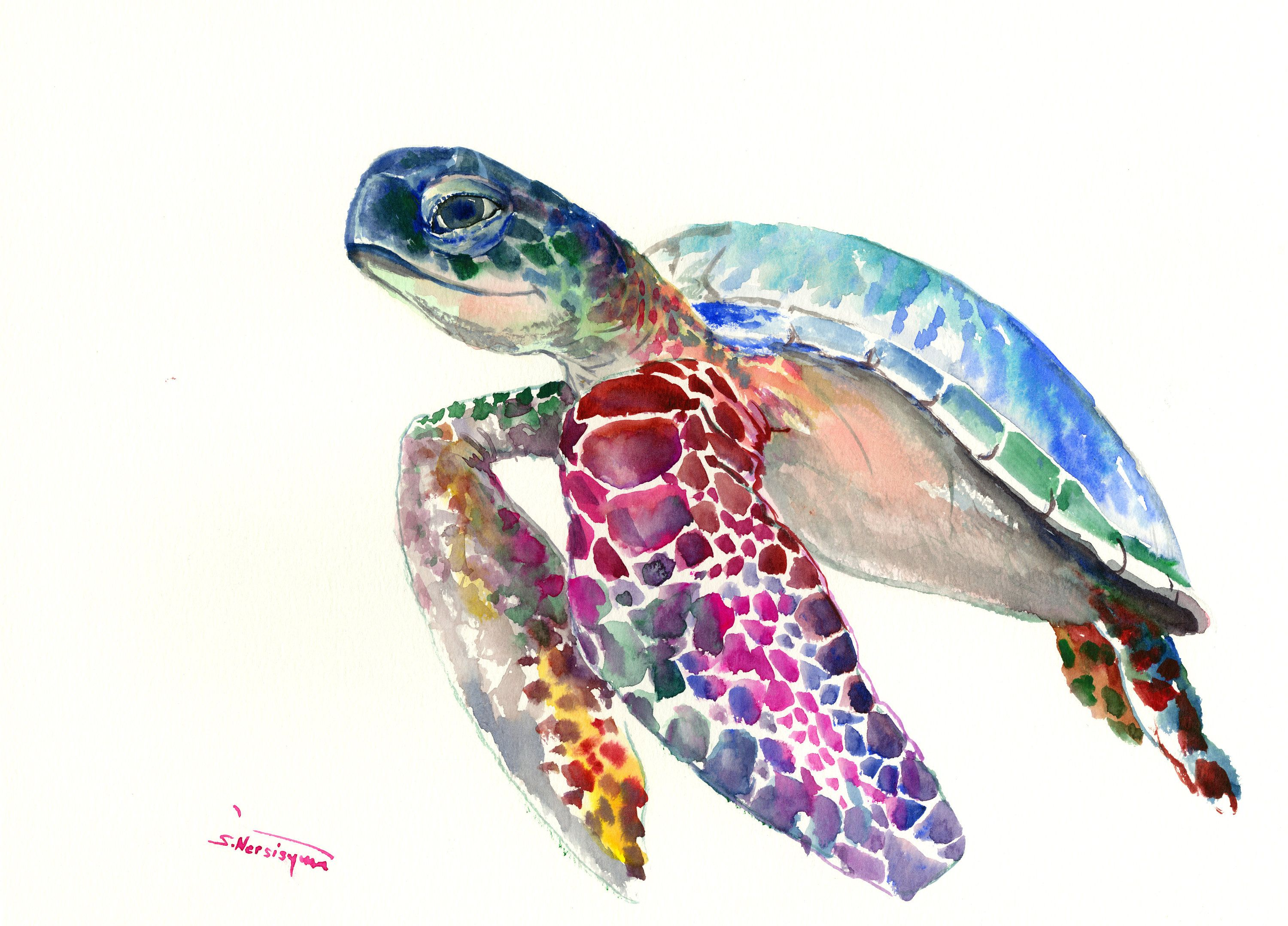 Sea Turtle Painting Original Watercolor Painting 15 X 11 In Blue Nautical Wall Art Light Blue Minimalist By Originalo Turtle Art Lovers Art Turtle Painting