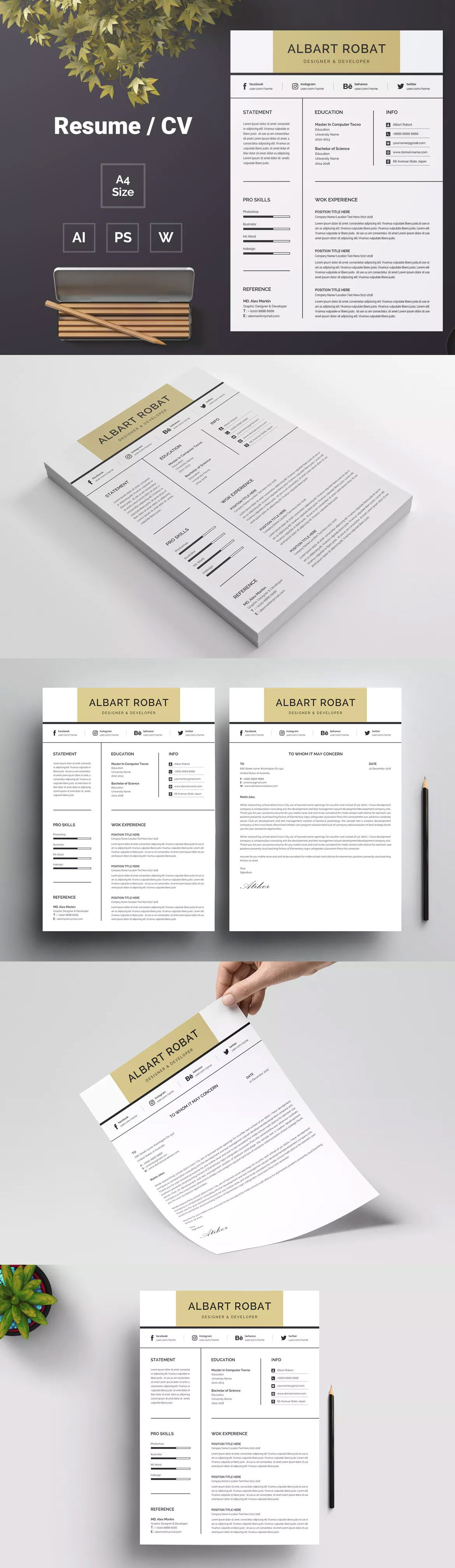 Resume Template Ai Eps Psd Resume Template Resume Template Free Downloadable Resume Template