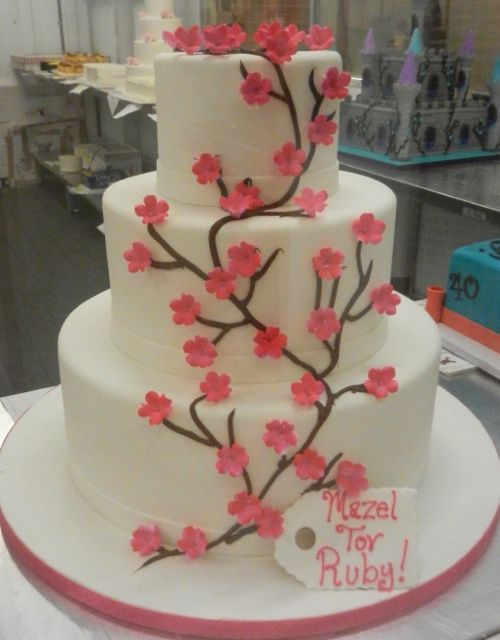 Astonishing 3 Tier Cake With Pink Cherry Blossoms With Images Cake Designs Funny Birthday Cards Online Chimdamsfinfo