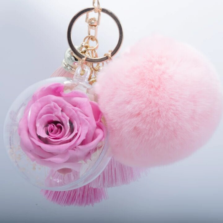 Pink Preserved Rose Pink Fluffy Ball With Faded Pink Thread Tassels Keychain Tassel Keychain Pink Roses Rose Buds