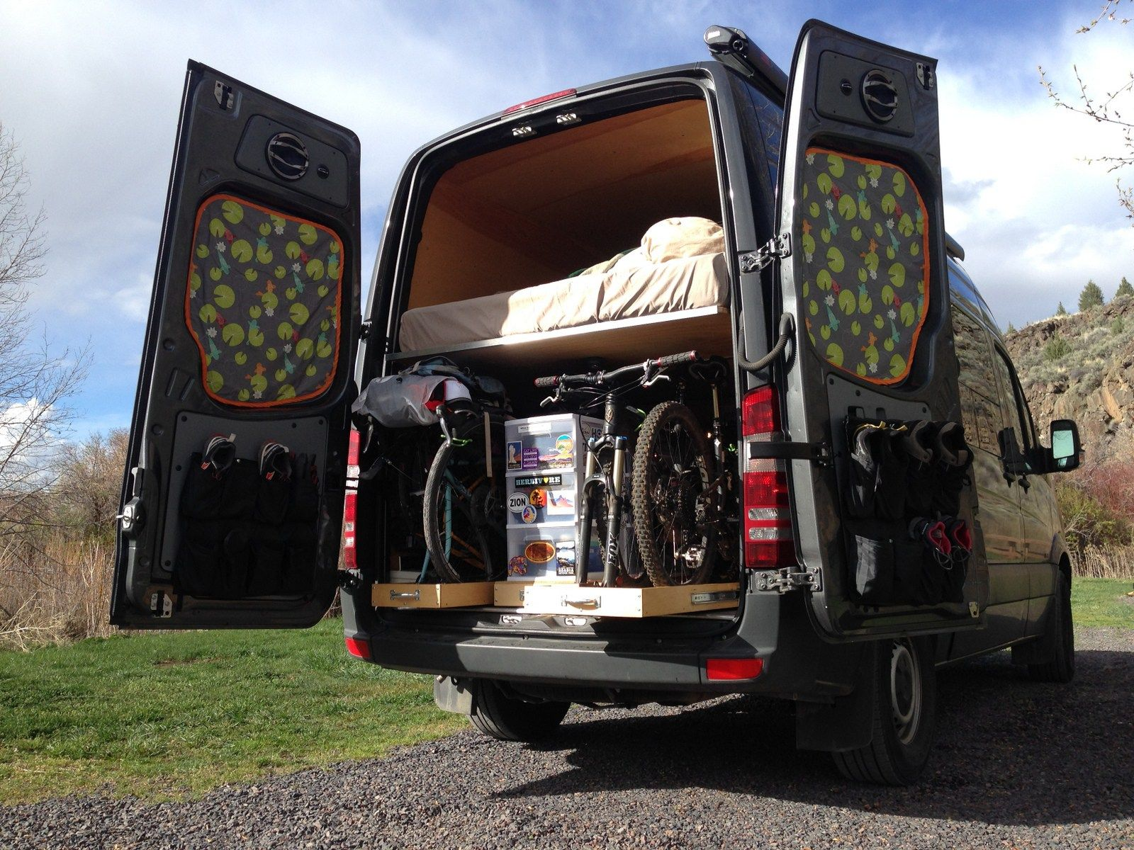 Sprinter van bike and gear garage. The drawers on the left
