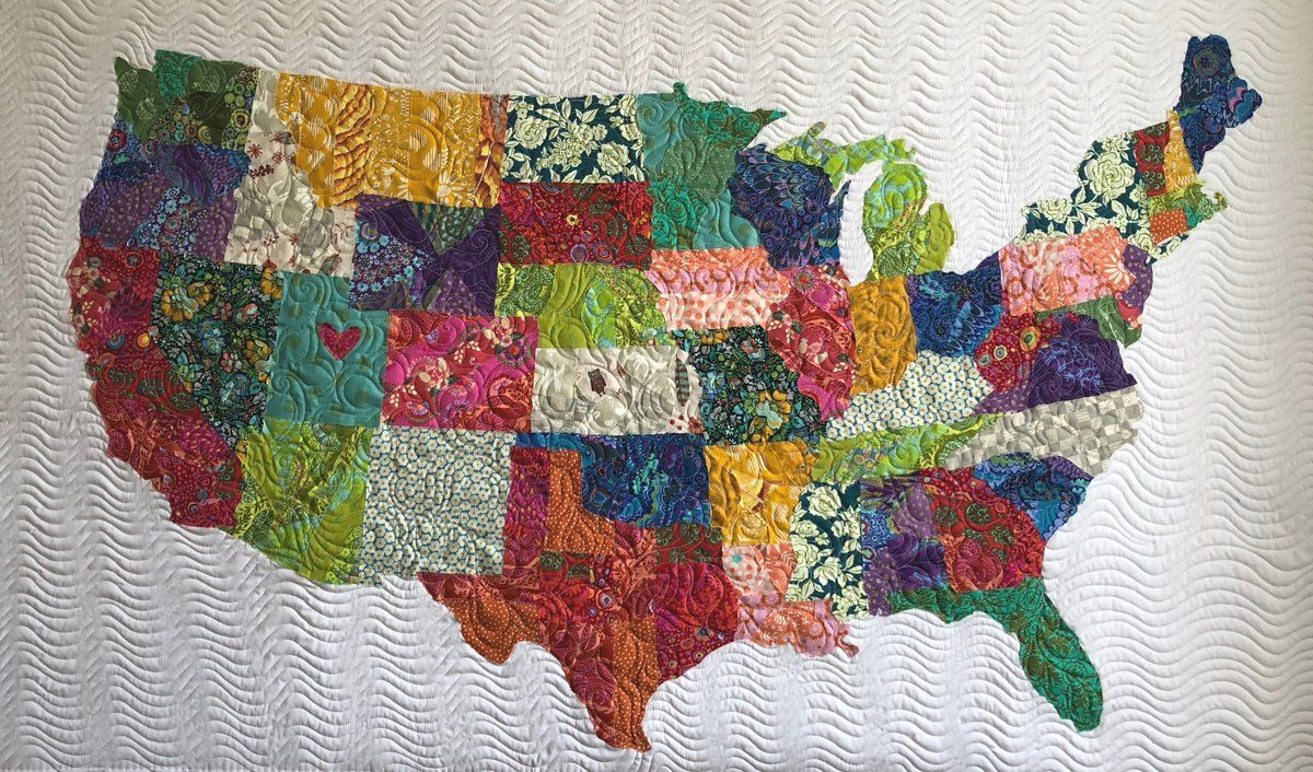 USA Collage Quilt Tutorial   Quilting   Quilts, Map quilt, Quilt ...