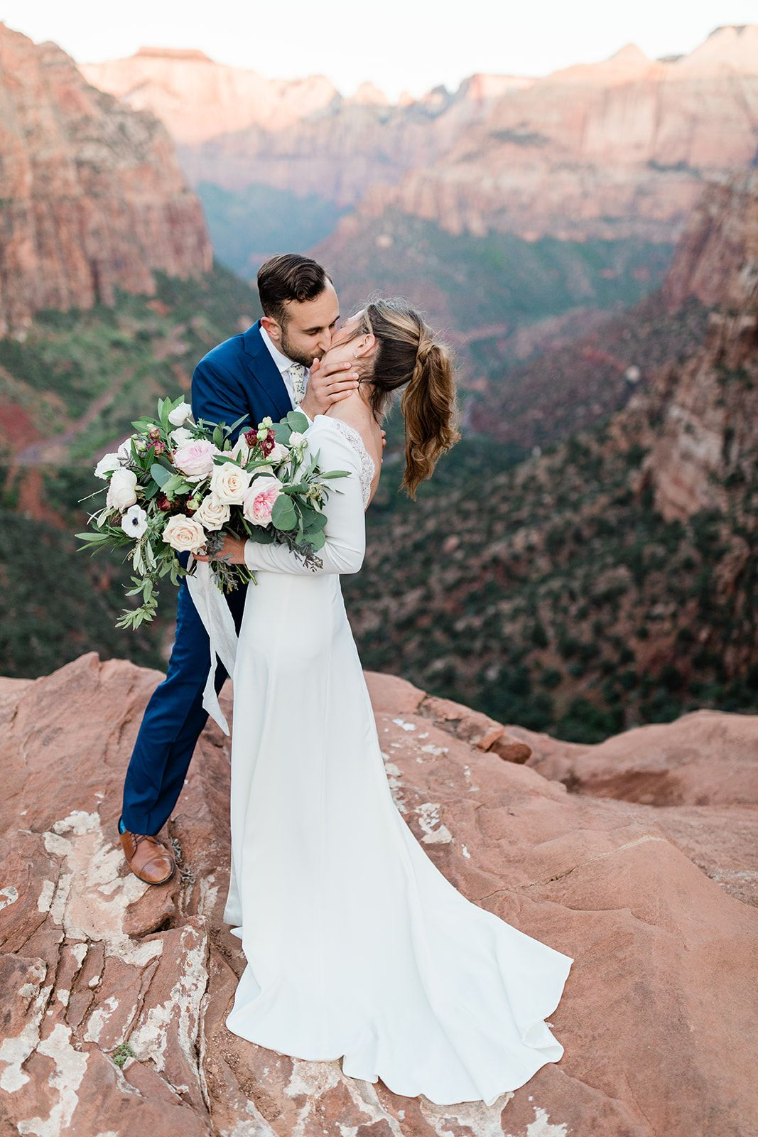 Zion National Park Elopement Zion Elopement Groom Sees Bride For First Time National Park Wedding Zion National Park Park Weddings