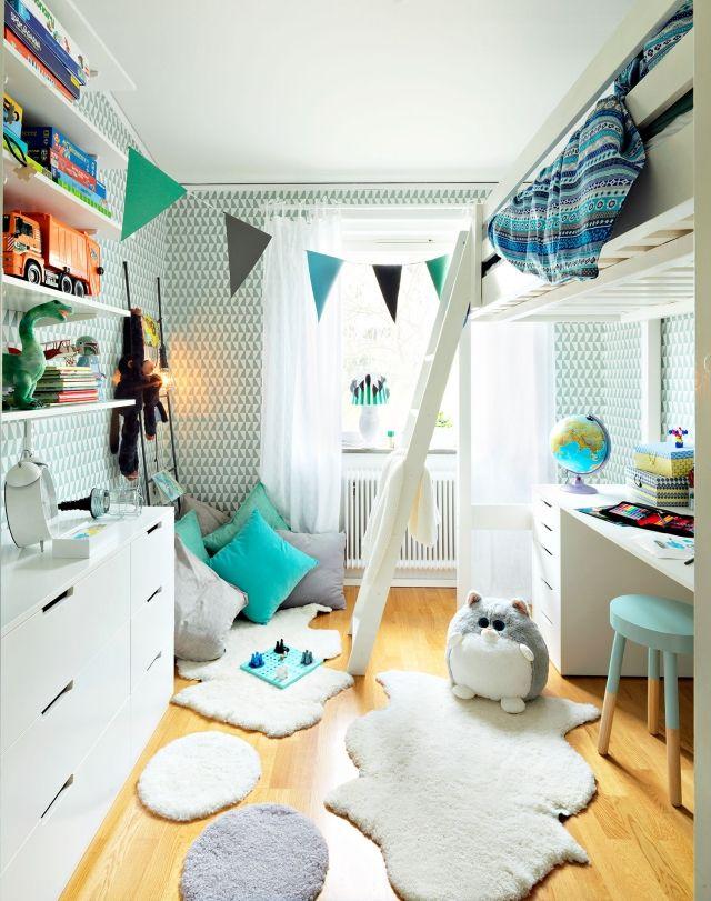 Einrichten Kinderzimmer Junge Weiß Aqua Hochbett Schreibtisch Unten
