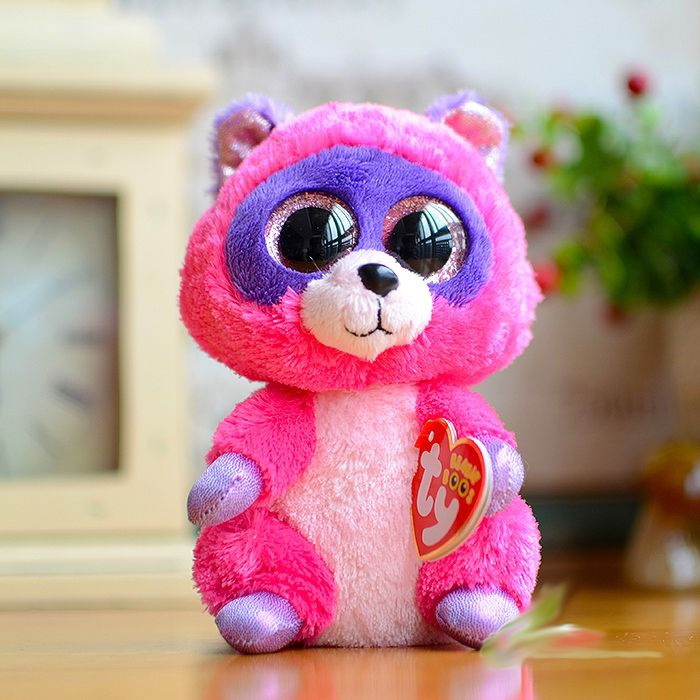New ty beanie boos rocco rose rouge violet raton laveur en - Animaux a gros yeux ...