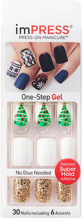 Impress Holiday White Gel Nails With Christmas Tree And Gold Glitter Accents Blow A Kiss White Gel Nails Holiday Nails Gel Nails