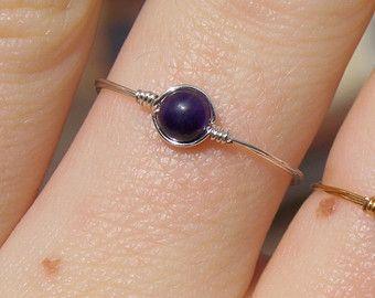 Zierliche Draht gewickelt Amethyst Perlen Ring (mit Silber/Gold ...