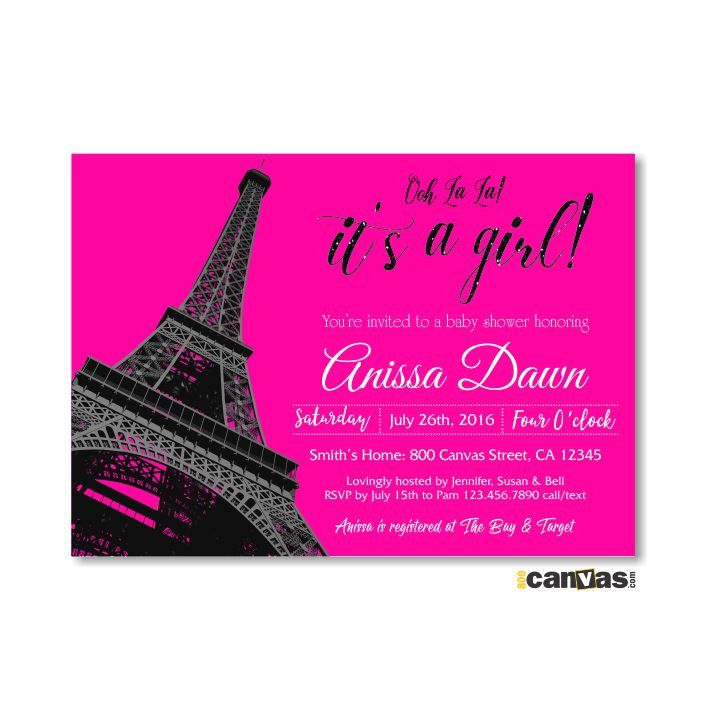 Paris Baby Shower Invitation. Eiffel Tower Baby Shower Invite. It's a Girls Shower. French Theme Invite. Hot Pink Glitter Black BS 176 by 800Canvas on Etsy