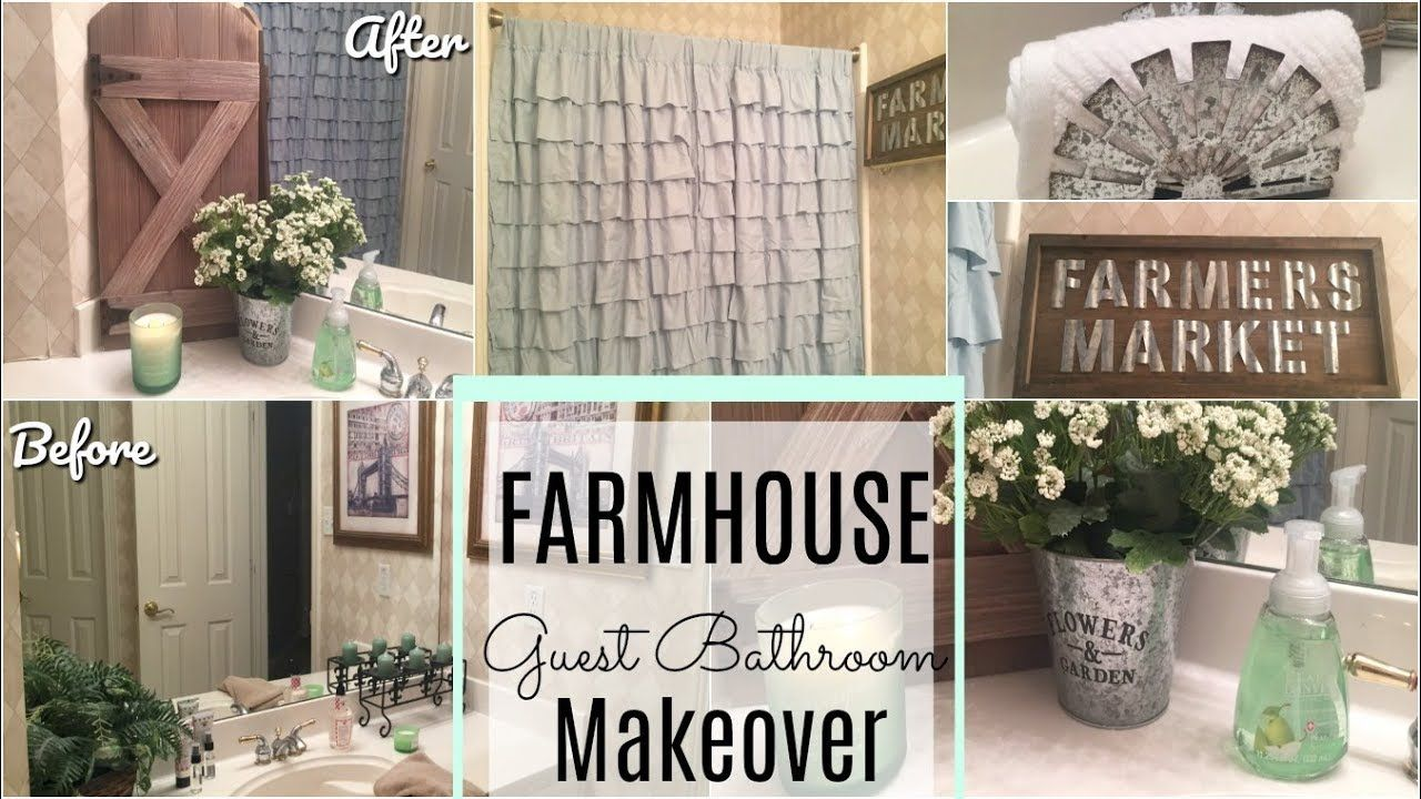 Bathroom Makeover Dollar Tree Diy Farmhouse Guest Bath Youtube Farmhouse Diy Farmhouse Style Bathroom Decor Dollar Tree Diy