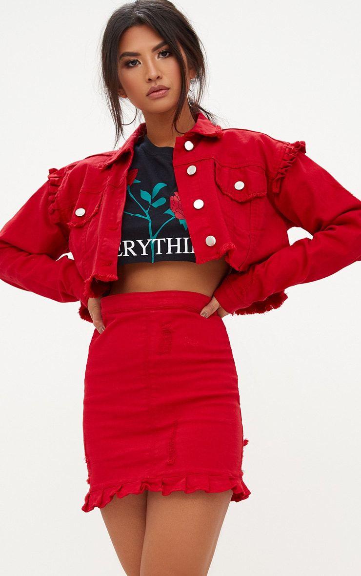 70a0867663 Red Ruffle Hem Denim Skirt in 2019 | voodoo | Red denim skirt, Denim ...