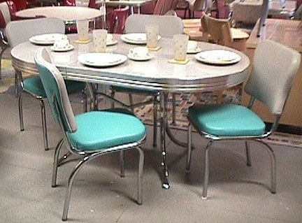 1950\'s Chrome and Formica Dinette Set. It included one 12 inch ...