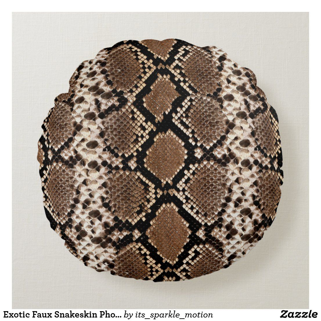 Exotic Faux Snakeskin Photographic Pattern Round Pillow