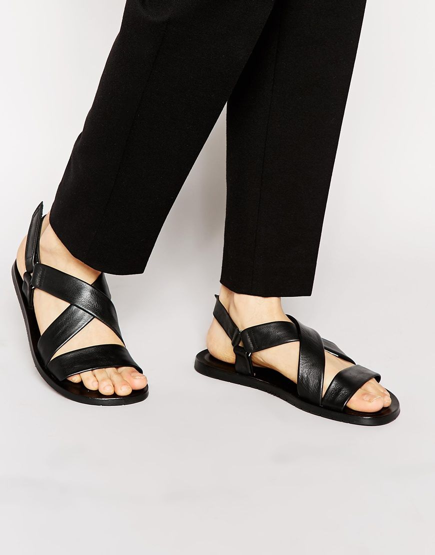 24971219e79ff8 Image 1 of Boss Black Hamprio Leather Sandals