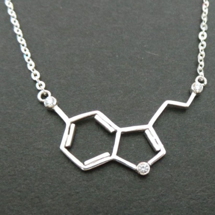 925 Silver Serotonin Molecule Necklace Serotonin Jewelry Science