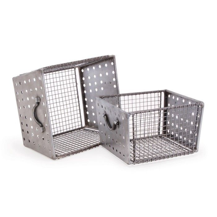 Industrial Wire Bins-Set of Two | Industrial, Organizing and ...