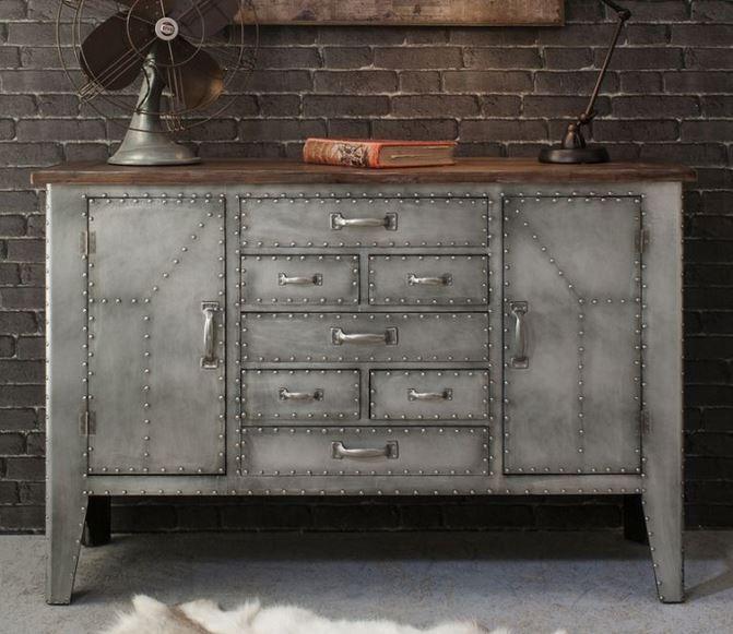 sideboard metal wood industrial urban chic rivet designer gallery