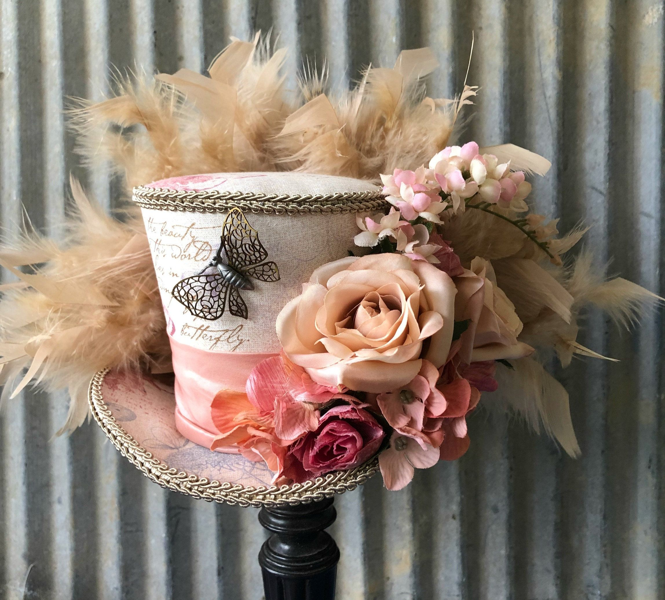 Cute black   color  mini  hat with    feather and butterfly