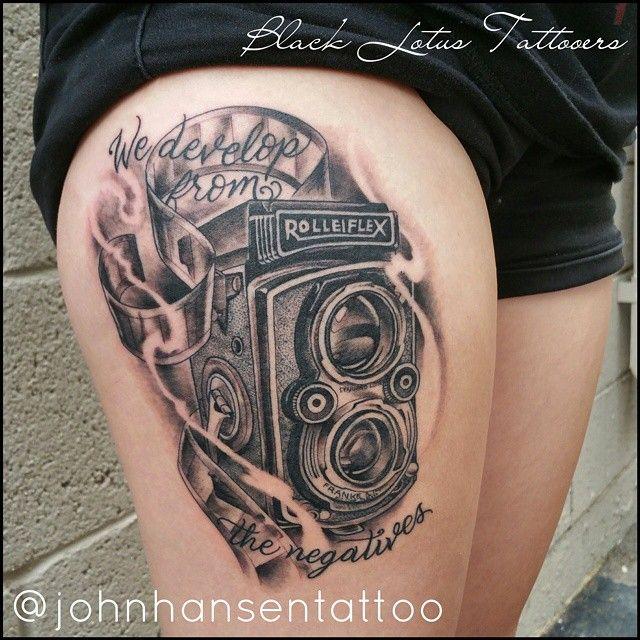 Her first tattoo! Sat like a rock! #photographytattoo #cameratattoo #blackandgrey #blackworktattoo #aztattooer #prettytattoos #blacklotustattooers @blacklotustattooers #swashdrive