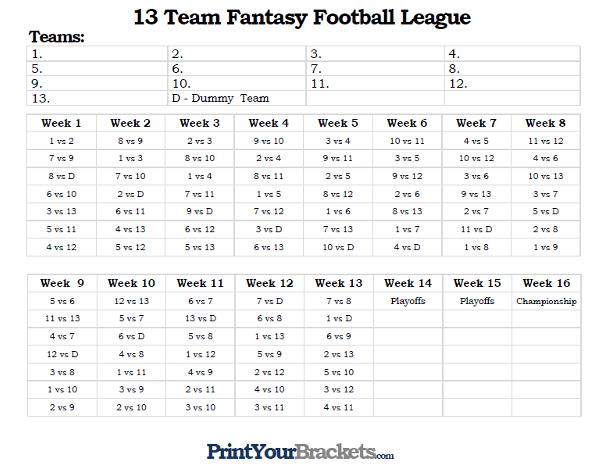 Printable 13 Team Fantasy Football League Schedule