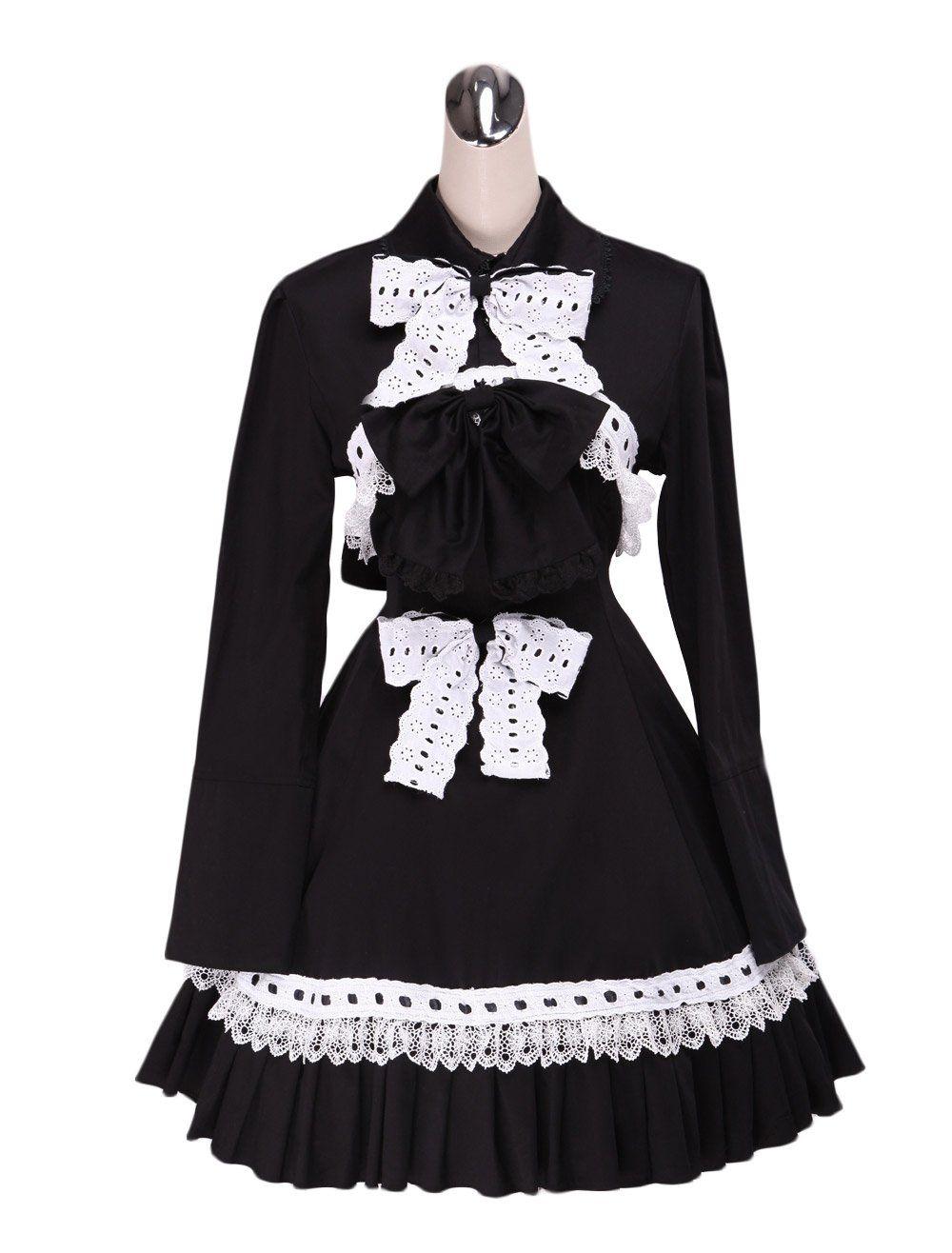 078ed3ded1b480 AvaLolita Black Cotton Lolita Dress with White Bows