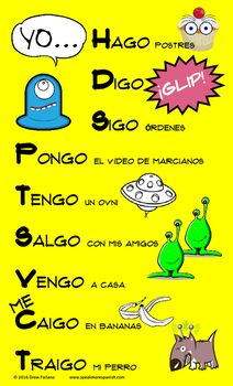 Fun Spanish YO GO Poster - Verbos Irregulares en la forma de YO - FREE