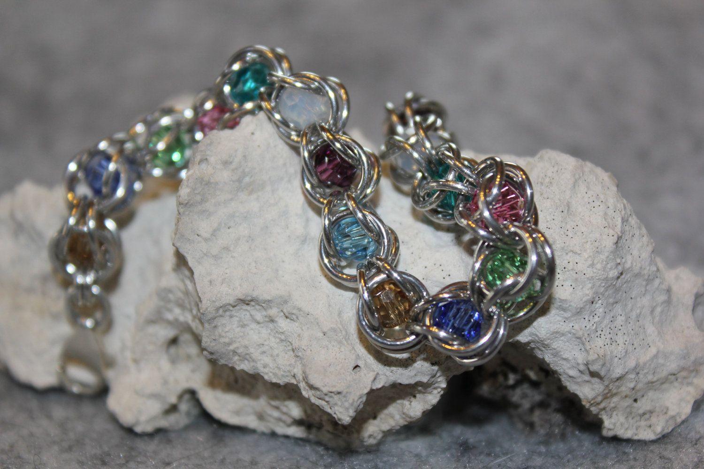 Captured Crystal Chainmaille Bracelet. $25.00, via Etsy.