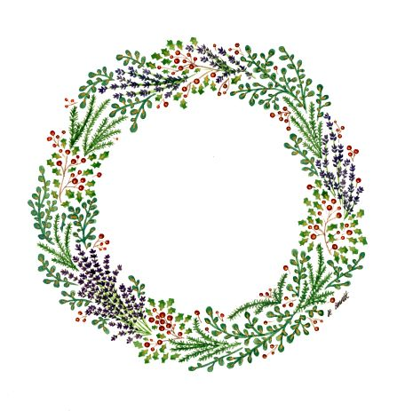 Photo of Hand Painted, Watercolor Christmas Wreath – Katy Bennett for Bee Illustrated