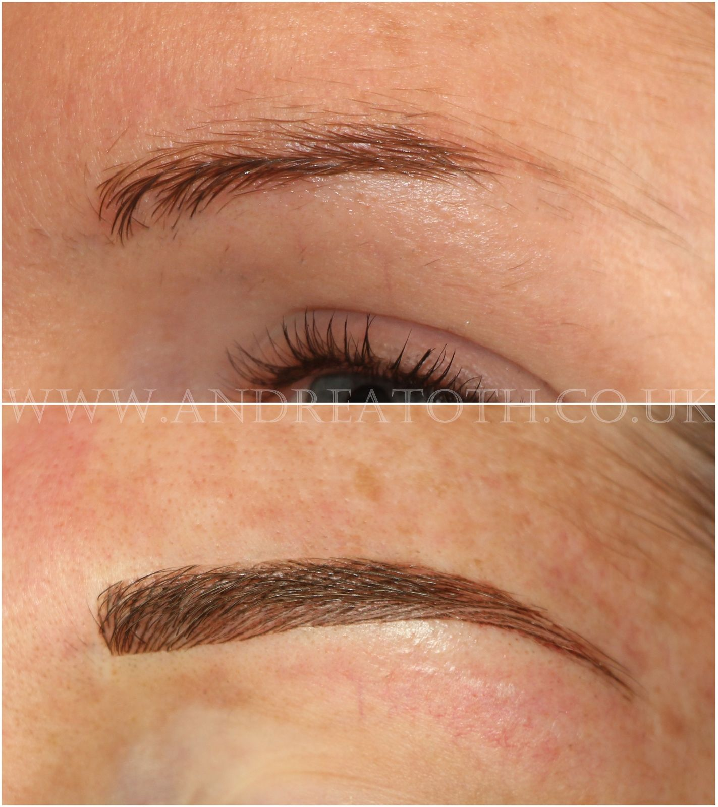 Hair stroke eyebrows semi permanent makeup with images