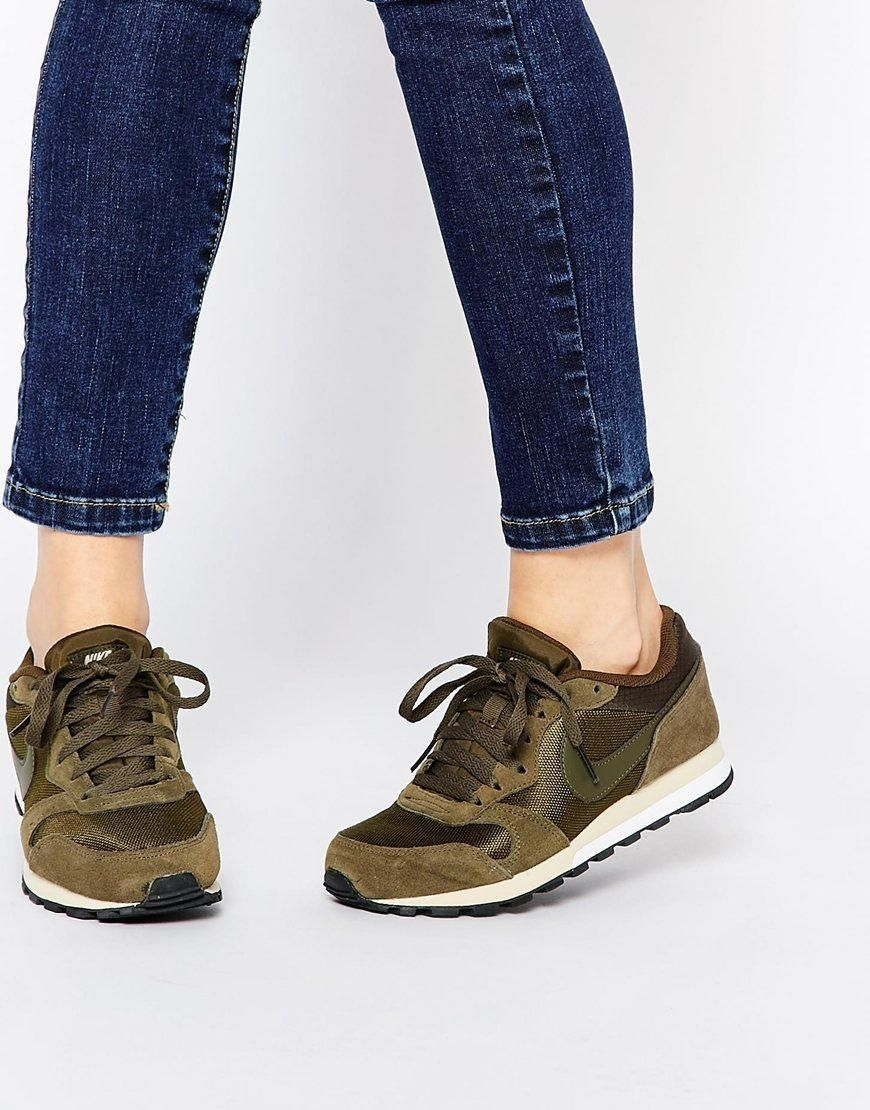 Nike Md Runner 2 Dark Green Trainers At Asos Com Schuhe Damen Grune Turnschuhe Rote Adidas Schuhe