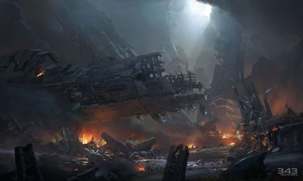 Halo 4 Art Pictures Forward Unto Dawn Wreckage With Images