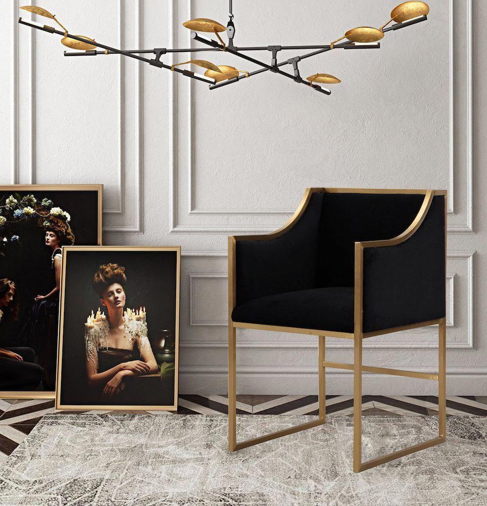 black, velvet, and gold living room decor