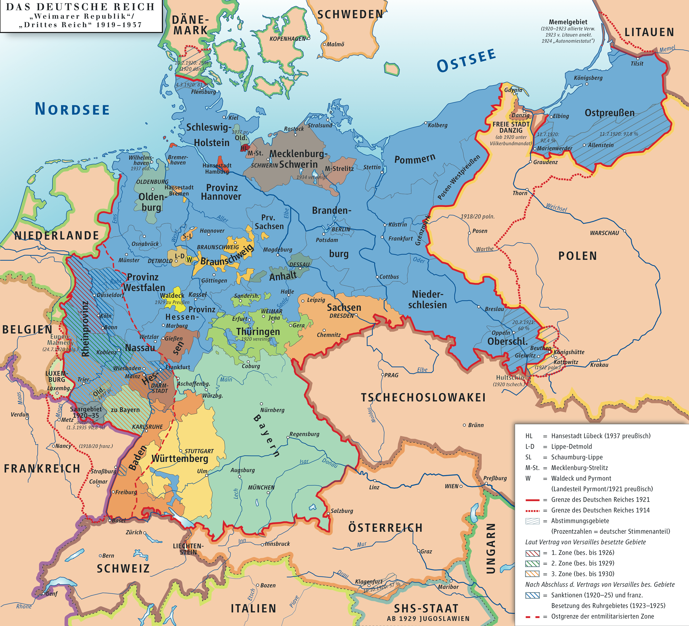 Map of the german reich republic of weimarthird reich 1919 1937 map of the german reich republic of weimarthird reich 1919 1937 altavistaventures Images