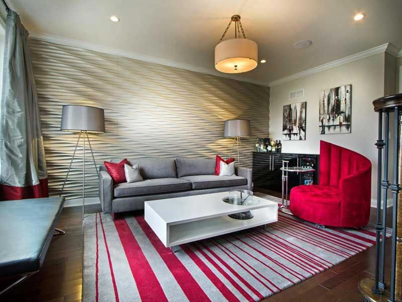 modern living room with sleek textured wall and pink rug